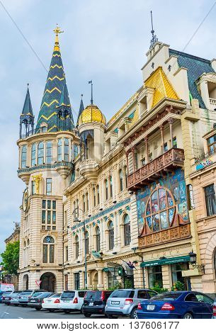 BATUMI GEORGIA - MAY 24 2016: The former National Bank building with the famous astronomical clock tower is the pearl of the city center on May 24 in Batumi.