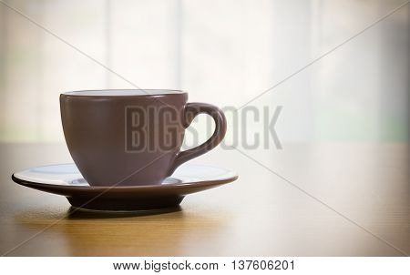 Coffee Cup On Wood Table ,vintage Style