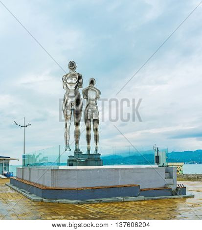BATUMI GEORGIA - MAY 24 2016: The kinetic statues of two book heroes - Ali and Nino depict there love story - move towards each other and pass through one another on May 24 in Batumi.