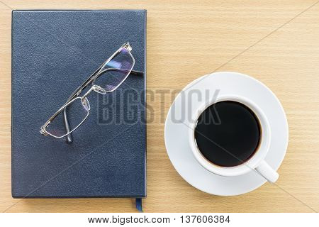 Coffee On Wood Table And Glasses
