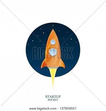 Space rocket launch, Creative idea, Rocket background, Vector illustration for startup