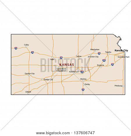 Vector Kansas State USA 3D Colour Map