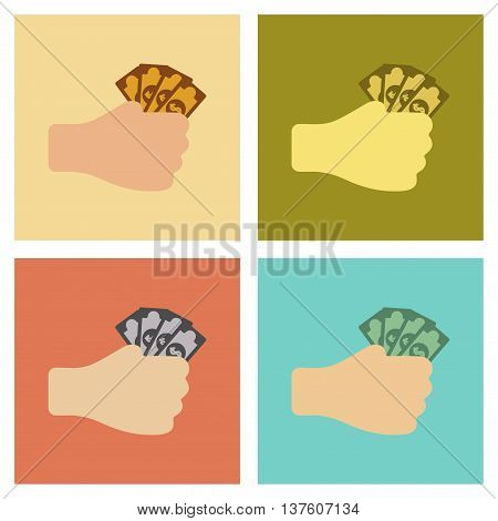 assembly of flat icons poker money in hand