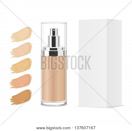 Foundation cream shades. Glass tube and paper package. Color palette. Vector illystration