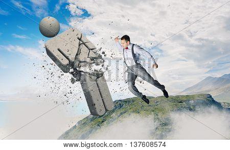 Man crashing opponent . Mixed media