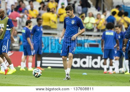 Belo Horizonte Brazil - july 08 2014: Oscar of Brasil during the FIFA 2014 World Cup. Brazil is facing Germany in the semi-finals at Mineirao Stadium