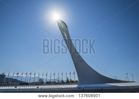 Sochi, Adler, Russia - July 06, 2016: the fire of Olympic games at the Olympic Park during the World Choir Games 2016