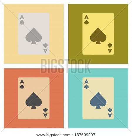 assembly of flat icons poker playing card