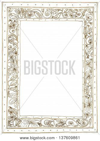 Picture Frame Plumeria Applied Arts background, It's flower and leave nature frame pencil sketch design black and white color.