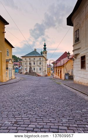 Town hall in the main square of the old town of Banska Stiavnica, Slovakia.