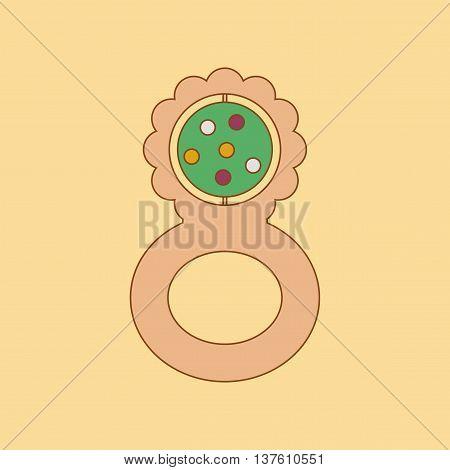 flat icon on stylish background Kids toy rattle