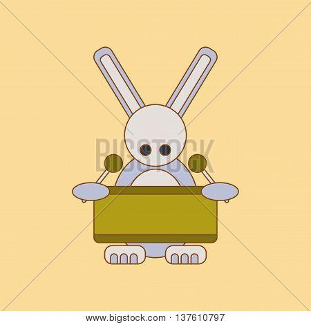 flat icon on stylish background Kids toy rabbit drummer