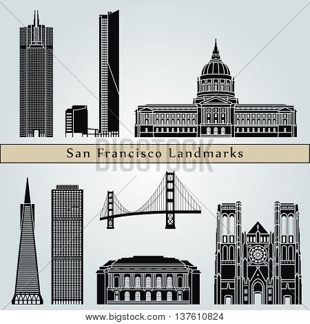 San Francisco landmarks and monuments isolated on blue background in editable vector file