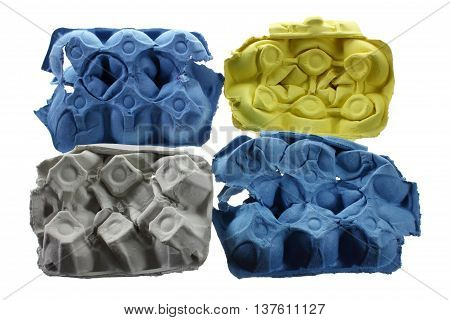 Colored Egg Cartons on Isolated White Background
