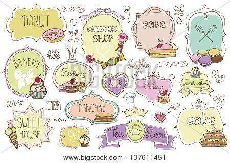 Bakery Vintage Badges, Labels, logo for sweet shop, coffee.Hand sketched logotype.Retro Colored doodles and shape design elements , cake icons, border, ribbons, frames .Vector