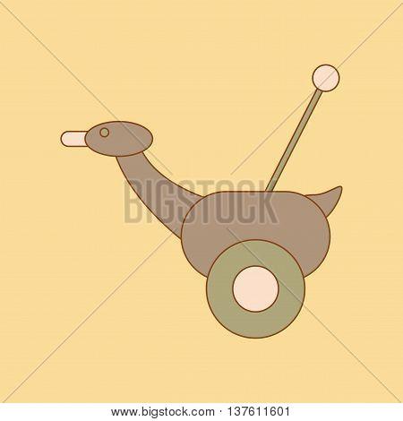 flat icon on stylish background Kids toy duck, vector illustration