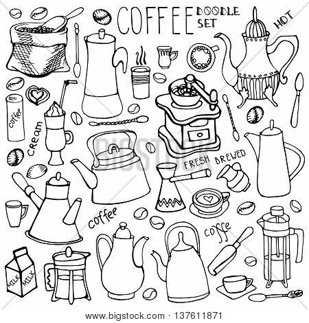Coffee theme doodle sketches.Hand drawn rough linear beans, lettering, tableware, various kinds of coffee ingredients, devices for coffee making. Vector isolated on white background for cafe menu, fliers