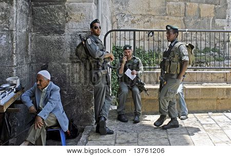 Israeli Border Guard at Damascus Gate, Jerusalem