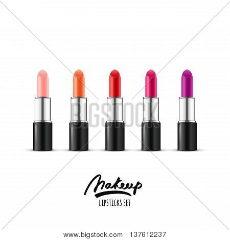 Vector Realistic Illustration Of Multicolor Lipstick. Makeup Icons Set. Red And Pink Lipsticks Isola