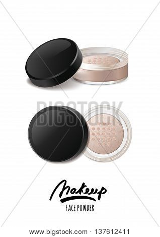 Vector Realistic Illustration Of Face Tonal Powder. Makeup Icons
