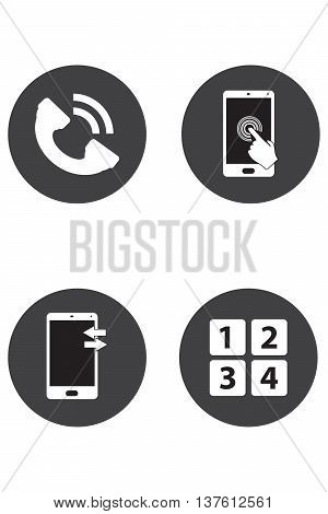Phone icons Call center support symbol symbol telephone mobile phone
