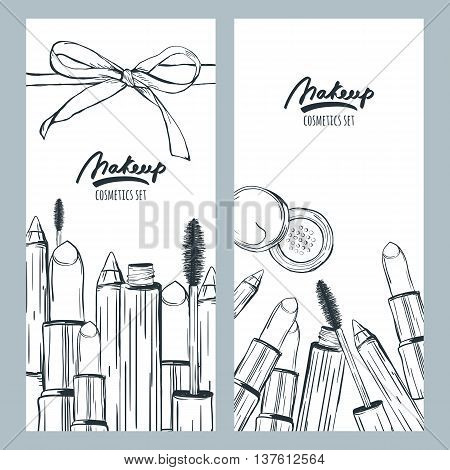 Vector Banners Or Flyers With Hand Drawn Illustration Of Makeup