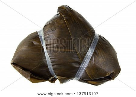 Chinese Sticky Rice Dumpling on White Background