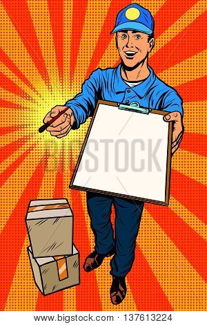 Courier delivery service mail and parcels. Pop art retro vector, realistic hand drawn illustration.