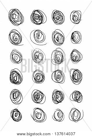 Vector Abstract Chaotic Round Sketch, eps 10
