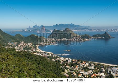 Scenic View of Rio de Janeiro and Niteroi Mountains with Guanabara Bay