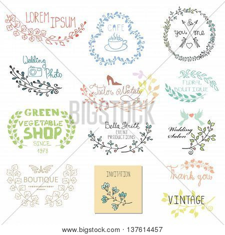 Hand drawn  logo template , frame, invitations card.Doodle btanches.Colored  decor.For decorating  design template, invitations, holiday, baby design.Vector illustration