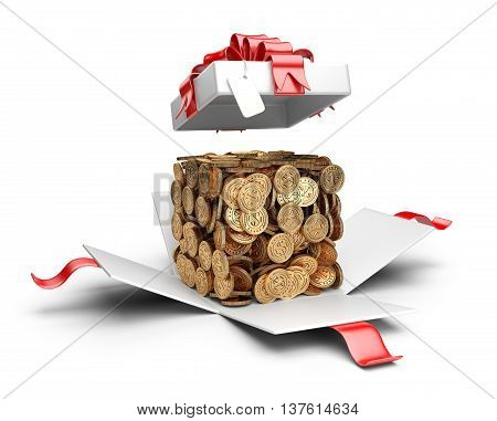 Open gift box with coins compiled in a form cube inside. Money concept.