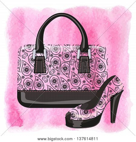Fashion handbag with high heel shoes.Gorgeous Paisley pattern and watercolor textured splash background.Artistic  Vector illustration.Composition in pink and black colors.Shopping Poster