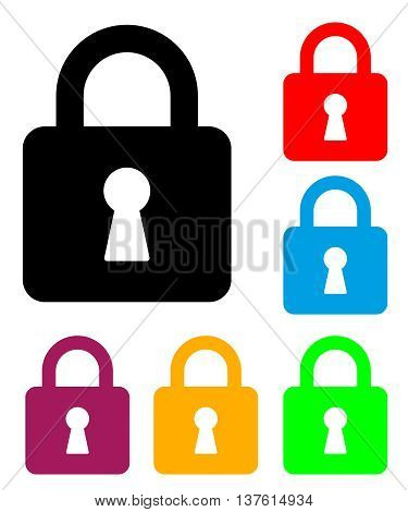 Padlock . Vector Illustration Of A Padlock Silhouette With It's Color Variations