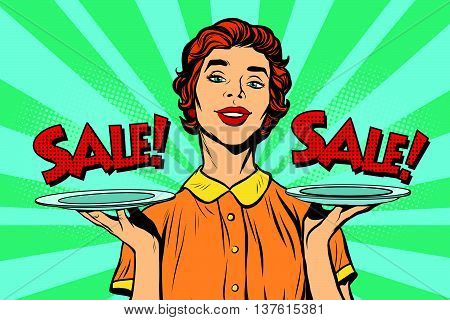 Woman sale on a tray. Pop art retro vector, realistic hand drawn illustration. Best deal for buyers of business concept