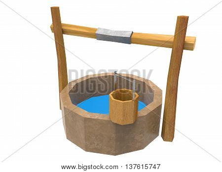 3d illustration of low poly water well. icon for game web. white background isolated.