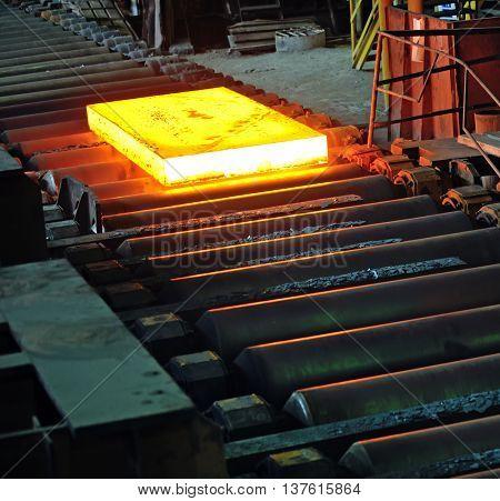 Hot steel plate in steel plant