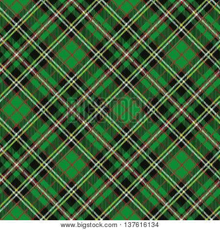 Tartan, plaid Seamless pattern, diagonal background. Wallpaper, wrapping paper and textile.Retro style.Fashion illustration, vector.Christmas, new year decor.Traditional red, black and green scottish ornament