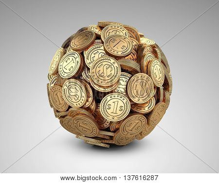 Gold coins assembled in a form sphere on a grey background. Business success concep.
