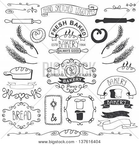 Vintage Retro Bakery Badges, Labels, logos.Colored hand sketched doodles and design elements.Bread, loaf, wheat ear, cake icons, border, ribbon. Easy to make logo.Outline Vector