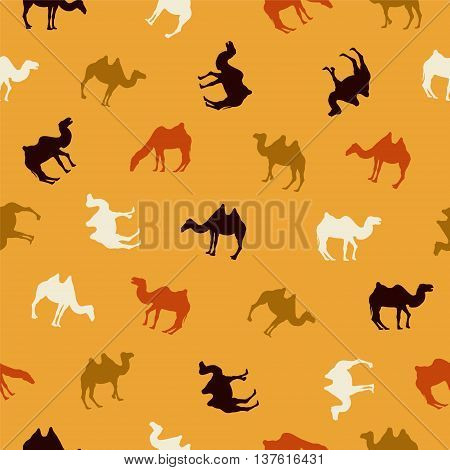 seamless vector pattern - camel silhouettes on yellow