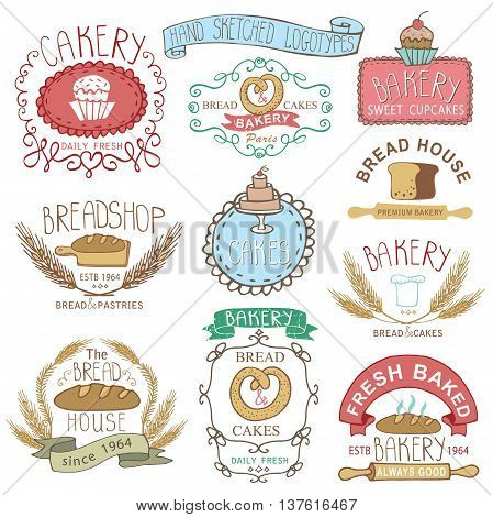 Vintage Retro Bakery Badges, Labels, logos.Colored hand sketched doodles and design elements. Bread, loaf, wheat ear, cake icons. Vector