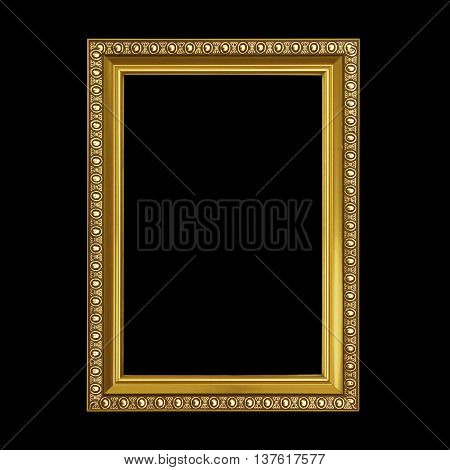 The Gold frame isolated on black background