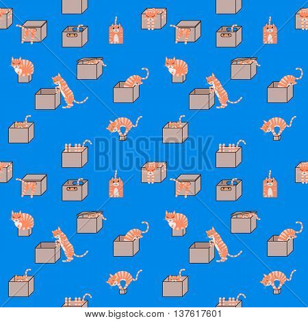 Cartoon cats in cardboard boxes seamless pattern. Vector Illustration