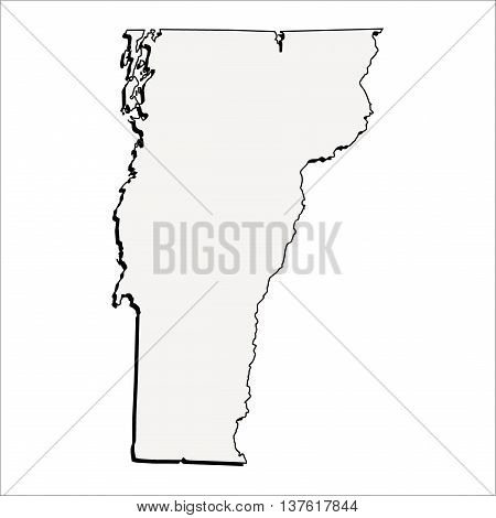 Vector Vermont State USA 3D Outline Map