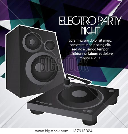 Electro and Dance Party represented by speaker icon over polygonal background. Colorfull and Flat illustration