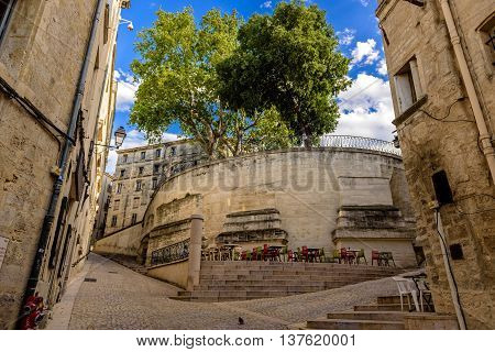 Narrow Streets of Montpellier in a summer day