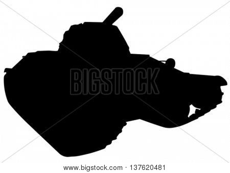 Big old tank on a white background