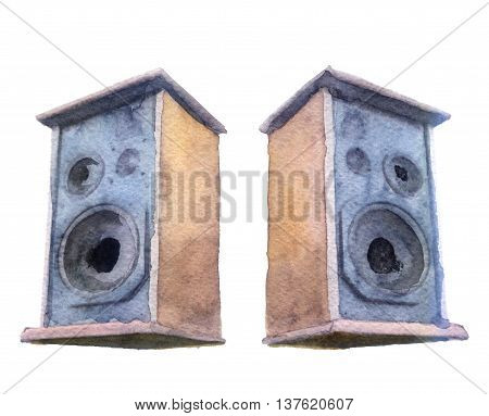 watercolor sketch of speakers on a white background
