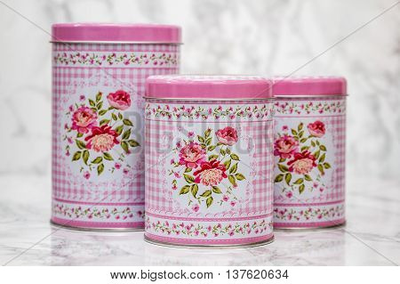 Decorative Tin Boxes With Floral Pattern